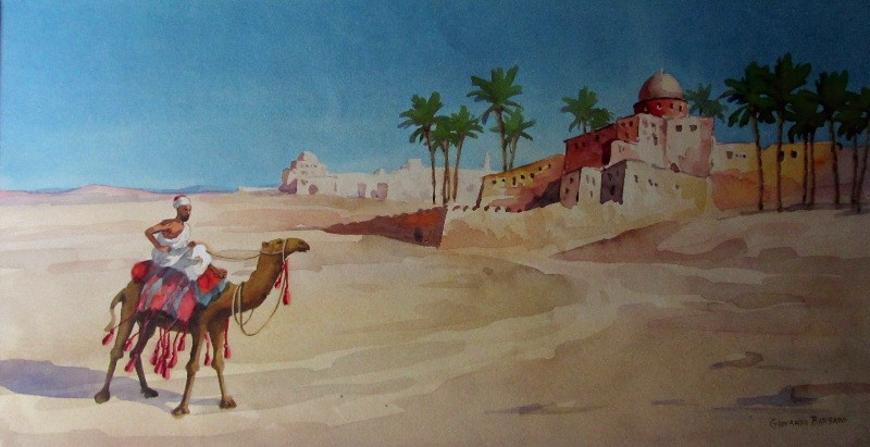 Fez, Morocco, watercolour on paper, signed Giovanni Barbaro, c1900. Framed and glazed.