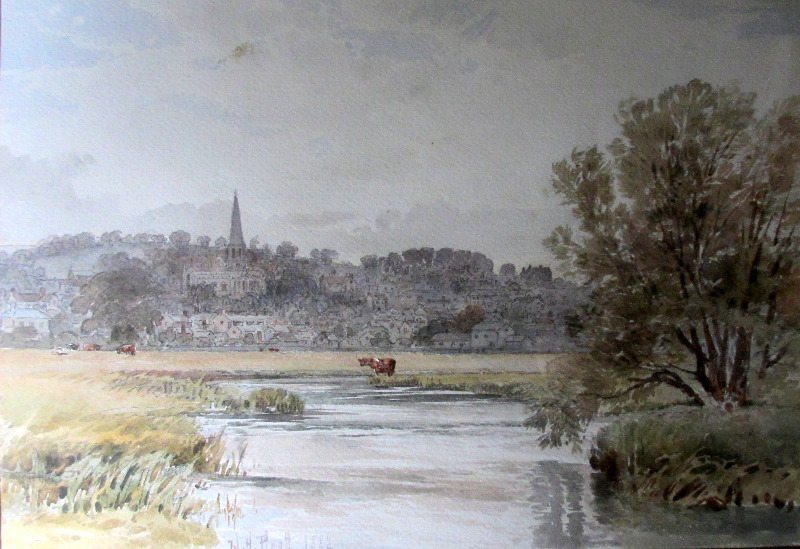 Bakewell from the River Wye, watercolour on paper, signed W.H. Pigott 1882.