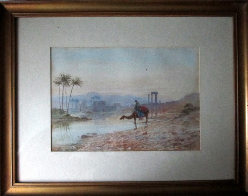 North African Oasis, watercolour on paper, signed JW Hepple 1915.