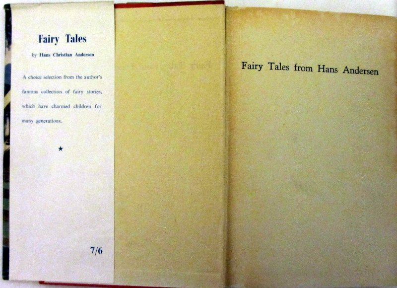 Fairy Tales from Hans Anderson, DJ front fold and e/p.