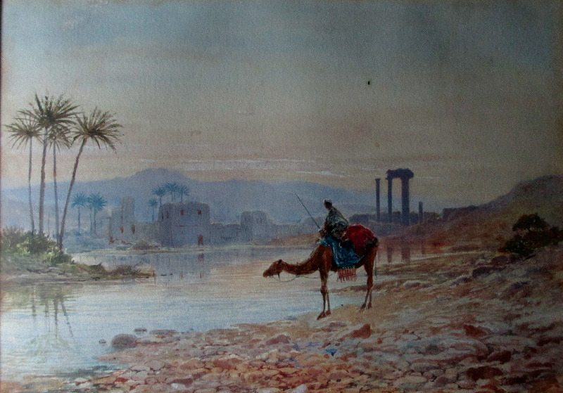 North African Oasis, The Watering Place, watercolour on paper, signed JW Hepple 1915.
