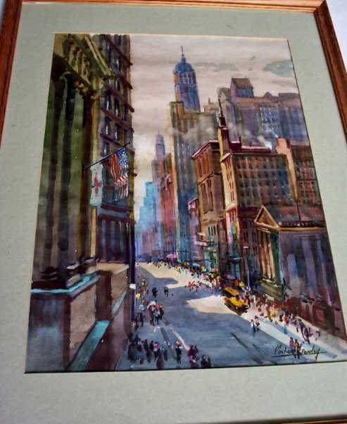 Broadway, New York, watercolour on paper, signed Michael Crawley, c1980. Sold 16.12.2013.