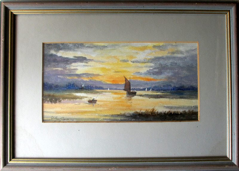 River Thurne, watercolour, signed Shirley Carnt, c1980.