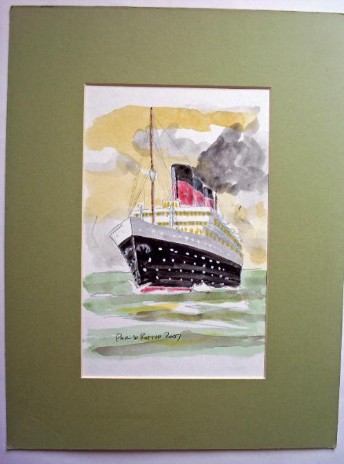Passenger Liner under full steam, watercolour, signed Paul W. Rotton 2003.
