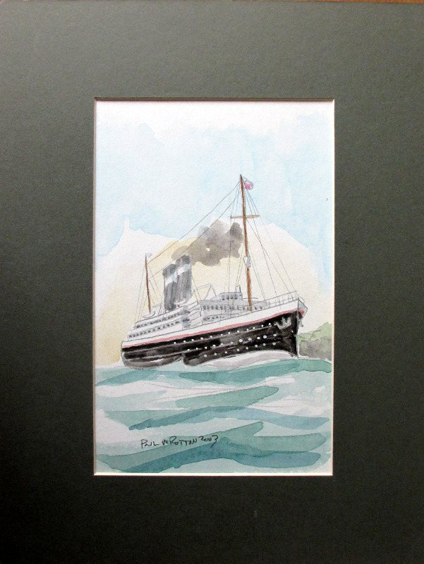Passenger Ship off the Coast, watercolour, signed Paul W Rotton 2003.
