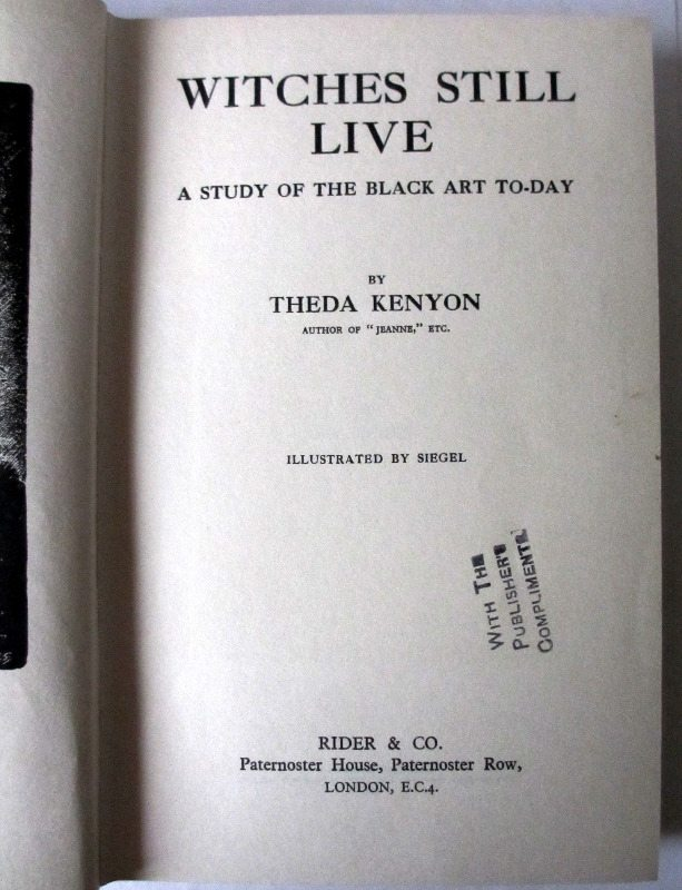 Witches Still Live, title page.