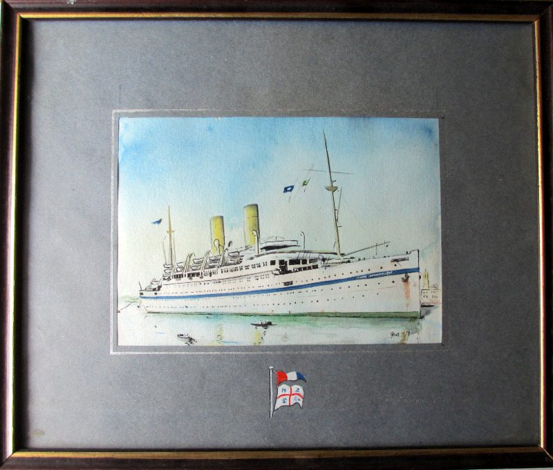 HMT Empire Windrush in Port Said, watercolour on paper, signed G. Kell 53. 1953.