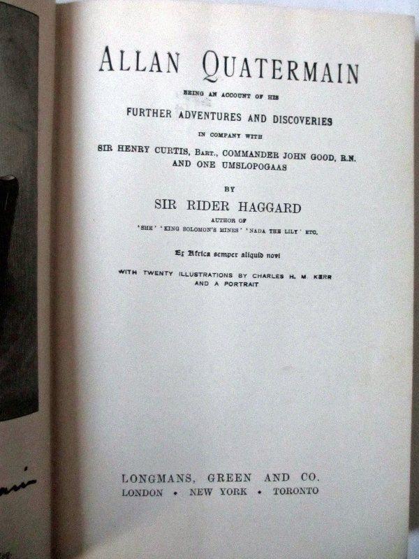 Allan Quartermain title page.