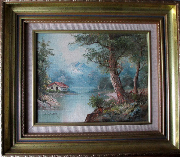 Tyrolean Landscape, oil on canvas, signed I. Cafieri. c1985.