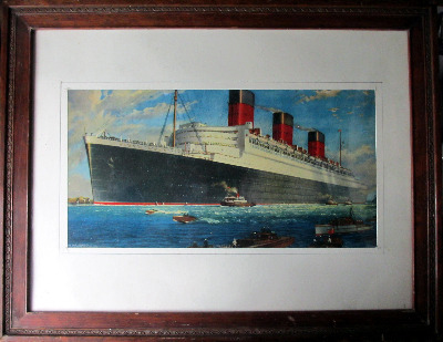 RMS Queen Mary, 1934. From the original watercolour signed William McDowell