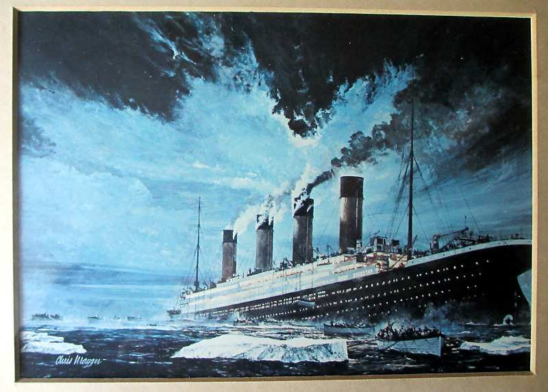 Sinking of Titanic by Chris Mayger, 14/15 April 1912, print. Framed and glazed.