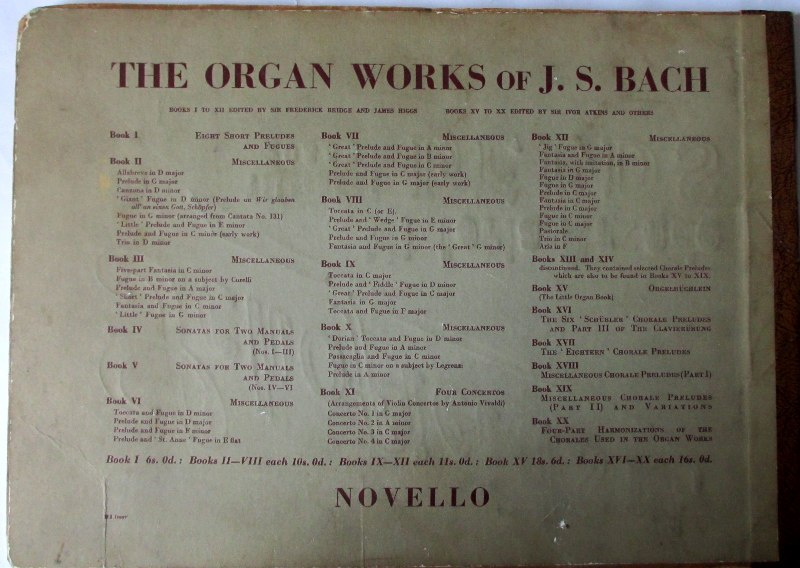 JS Bach, back cover, 1957.