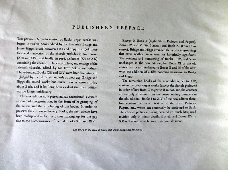 JS Bach, publisher's preface. 1957.