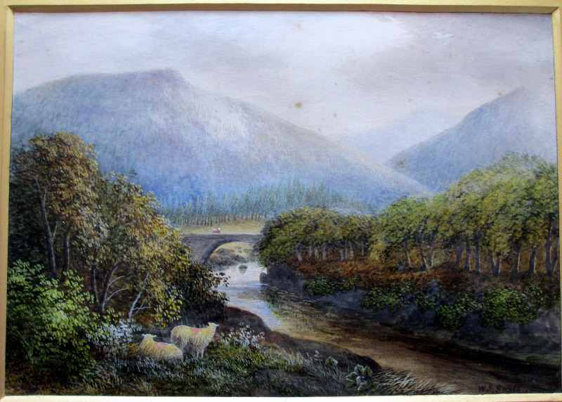 Pont Aberglaslyn, North Wales, signed WJ Smith, watercolour on paper, 1885.