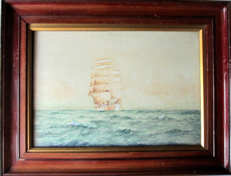 In South American waters, watercolour and gouache, signed WM Birchall 1910. Framed and glazed.