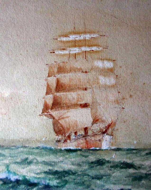 Clipper ship in detail. WM Birchall 1910.