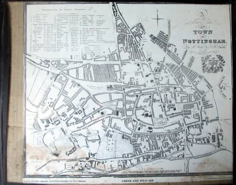 Smith and Wild 1820. Nottingham City Map.
