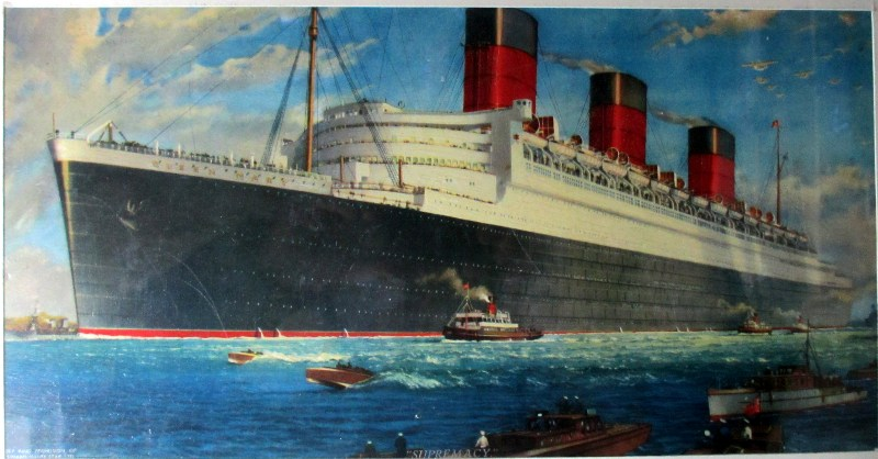 RMS Queen Mary. Print c1938.