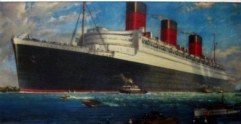RMS Queen Mary, print. c1938.
