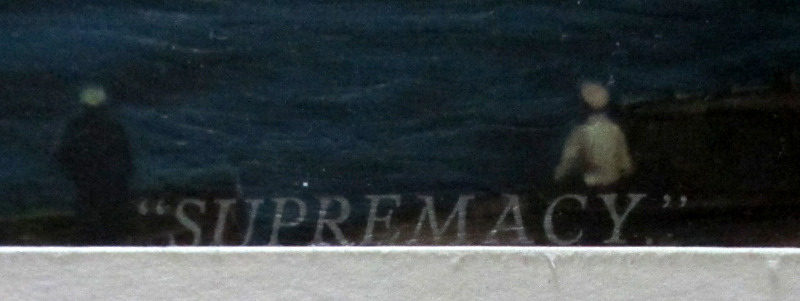 "RMS Queen Mary, print. Detail, lower lh corner. The title ""Supremacy""."