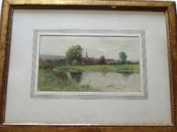Near Alfriston, East Sussex,  watercolour on paper, signed George Oyston 99. 1899.  SOLD  06.04.2014.