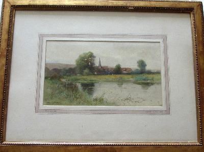 Near Alfriston, East Sussex,  watercolour on paper, signed George Oyston 99
