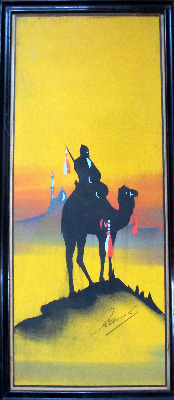Camel and Rider in Silhouette at Dusk, gouache on paper, signed Hamed, c190