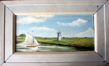 Thurne Dyke Mill, Thurne Dyke, Norfolk, signed CAW (C.A. Wright), oil on board. c1930.