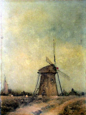 Norfolk Windpump, oil on canvas, signed initials R.C., c1930.