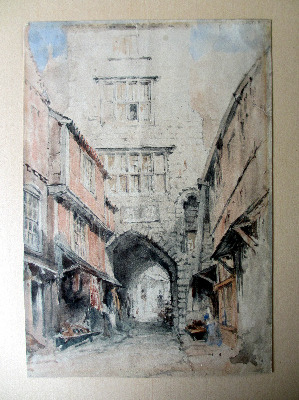 The Black Gate, Castle Garth, Newcastle-upon-Tyne, watercolour and graphite