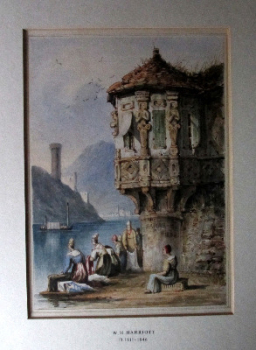 Sarah, 1834; Washerwomen on Lake Como. Watercolour on paper, signed W.H. Harriott 1834.