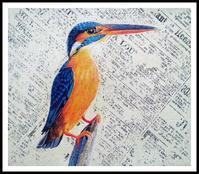 Kingfisher Bird, egg tempera on paper, Nikunj Mory Artistic Team, 2014.