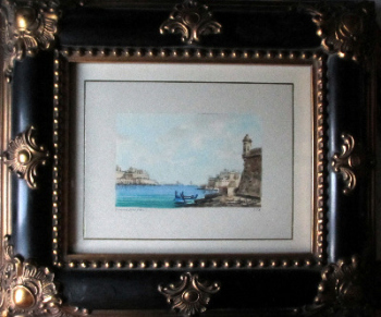 Grand Harbour, Valletta, watercolour on paper, signed Jos. Galea 1978. Framed and glazed.