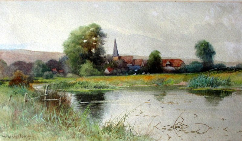 St. Andrews church, Alfriston, signed George Oyston 1899.