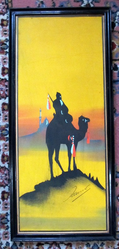Camel and Rider in Silhouette at Dusk, gouache on paper, signed Hadem, c1900.