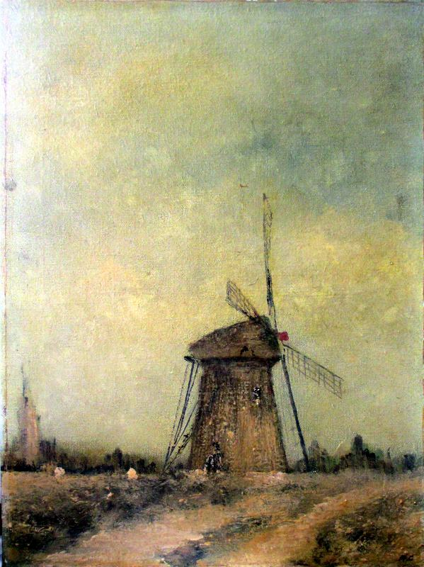 Norfolk Windpump, oil on canvas, signed R.C., c1930.