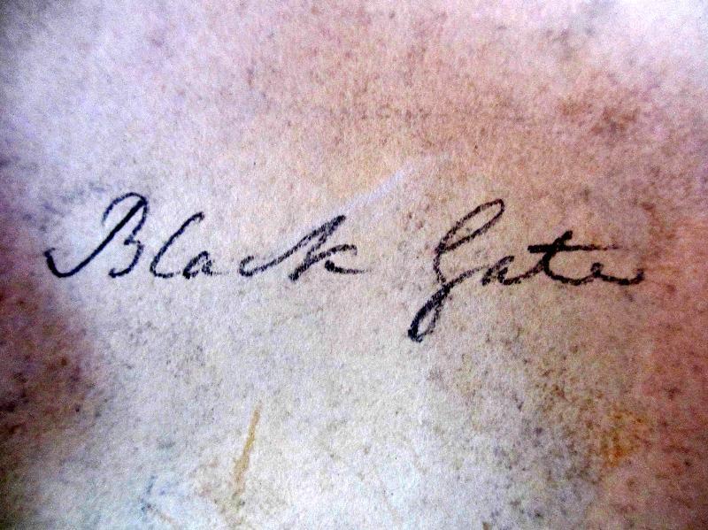 Painting verso, Black Gate in handscript.