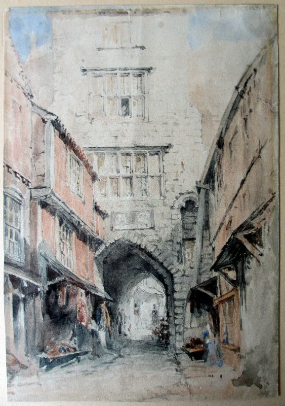 The Black Gate, Castle Garth, Newcastle-upon-Tyne, watercolour and graphite on paper, signed faintly initials WJM. c1835.