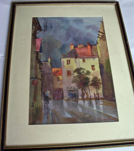 After the Storm, Calais, watercolour signed  Michael Crawley. c1970.