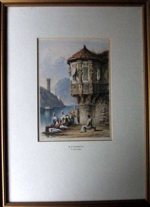 Sarah 1834, Washerwomen on Lake Como, watercolour, signed W.H. Harriott 1834.