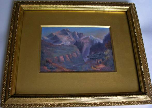 Continental Mountain Scene with Figure, oil on card, signed initials FLB. c1900.