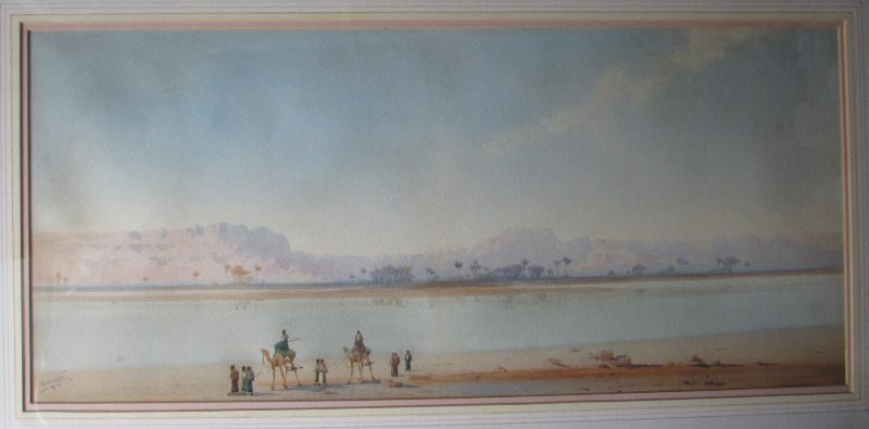 Along the Banks of the Nile, watercolour on paper, signed Augustus Osborne Lamplough. c1900.