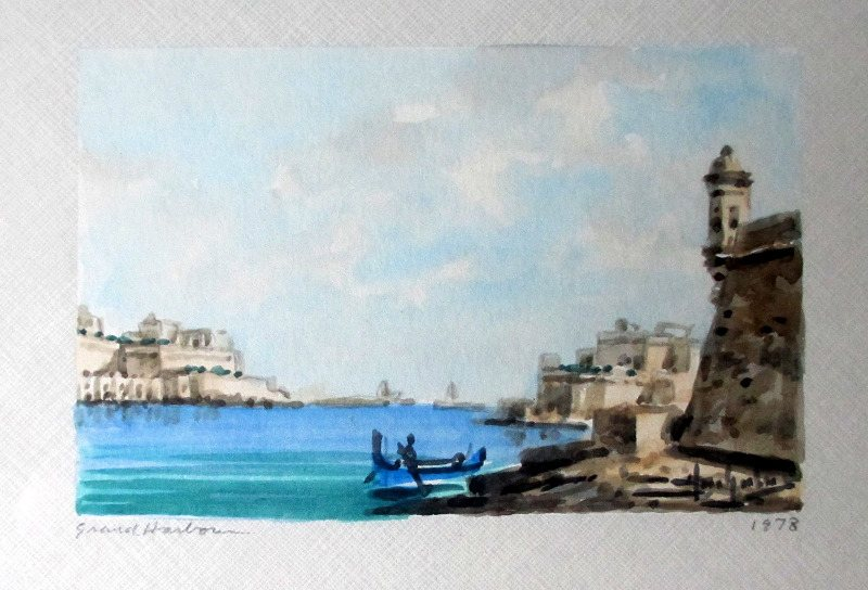 The Grand Harbour, watercolour on paper, signed Jos. Galea 1978.
