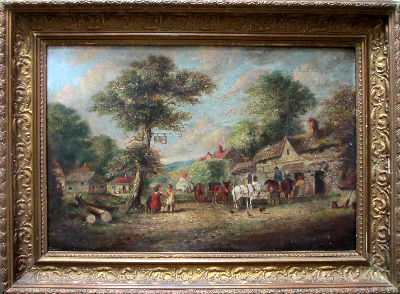 English Country Inn Scene with Figures and Horses, oil on canvas.  Attribut