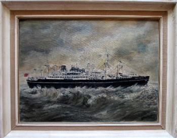 Houlder Line cargo ship mv Beacon Grange, oil on Daler board, signed EM Wytchard, 1975.