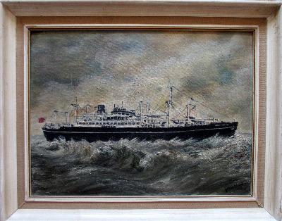 Houlder Line cargo ship mv Beacon Grange, oil on Daler board, signed EM Wyt