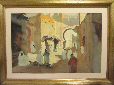 North African Street Scene, watercolour and gouache, signed Schmidt. c1930.