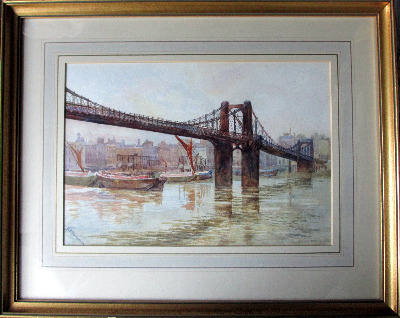 Old Lambeth Suspension Bridge, watercolour on paper, signed A.B. Furneaux.