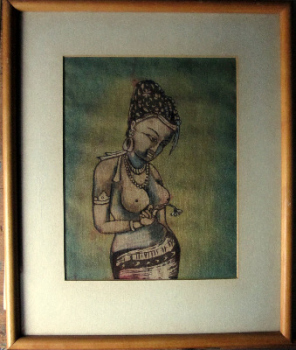 Sorrow, woodblock on silk. India. c1970. Glazed frame.
