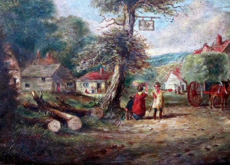 English Country Inn Scene with Figures and Horses, oil on canvas, unsigned, c1850. Detail.